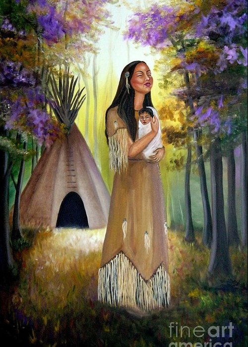 Native American Greeting Card featuring the painting Native American Mother And Child by Lora Duguay