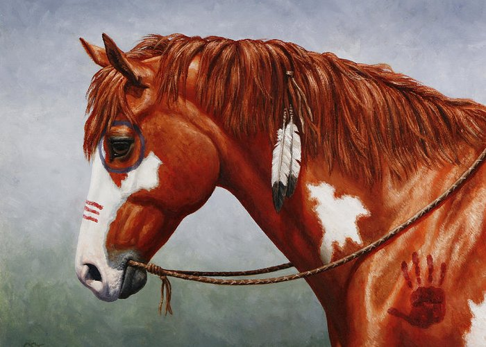 Horse Greeting Card featuring the painting Native American War Horse by Crista Forest