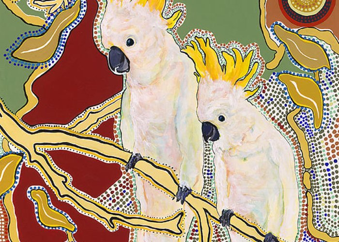 Pat Saunders-white Greeting Card featuring the painting Native Aussies by Pat Saunders-White