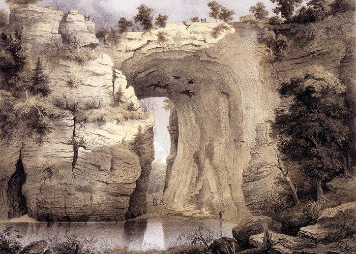 Virginia Greeting Card featuring the drawing Natural Bridge, Rockbridge County by Edward Beyer