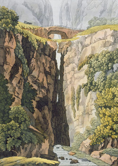 Possibly Brazil Greeting Card featuring the drawing Natural Bridge, Valle Dicononzo by Gerolamo Fumagalli