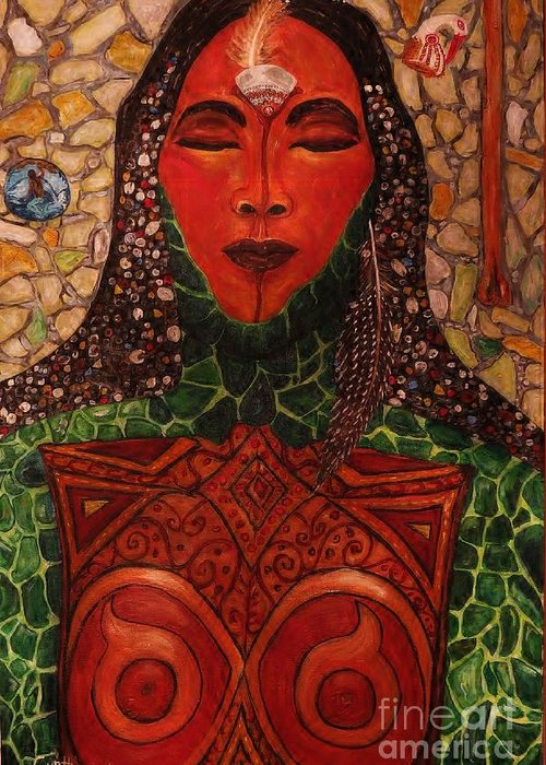 Abstract Greeting Card featuring the painting Natural Warrior Goddess by Cynthia Hagenhoff
