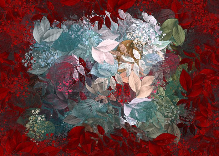 Leaves Greeting Card featuring the digital art Naturaleaves - S20-03c by Variance Collections