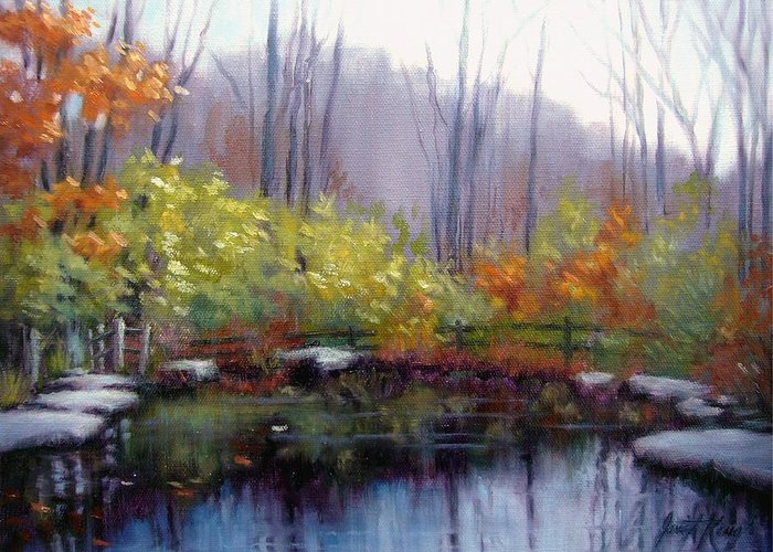 Autumn Greeting Card featuring the painting Nature Center Pond At Warner Park In Autumn by Janet King