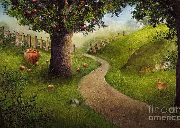 Autumn Greeting Card featuring the digital art Nature Design - Apple Orchard by Mythja Photography