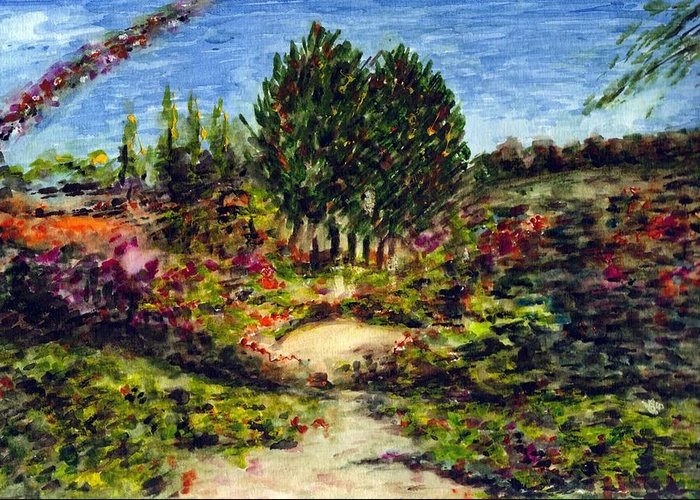 Landscape Greeting Card featuring the painting Nature by Harsh Malik