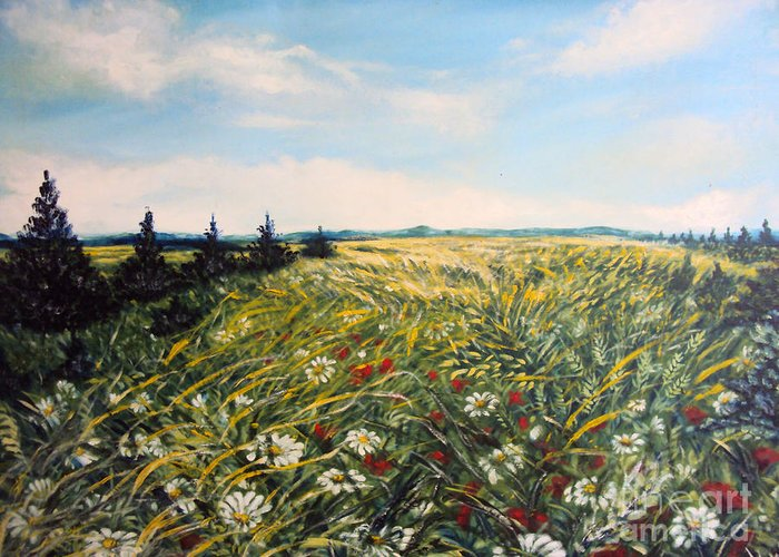 Nature Original Paintings Greeting Card featuring the painting Nature Landscape Field Poppies Daises Grass Pines Original Art by Drinka Mercep