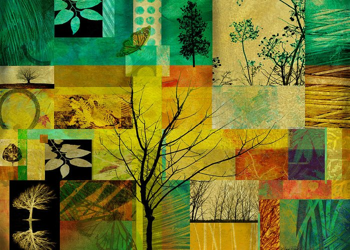 Collage Greeting Card featuring the digital art Nature Patchwork by Ann Powell