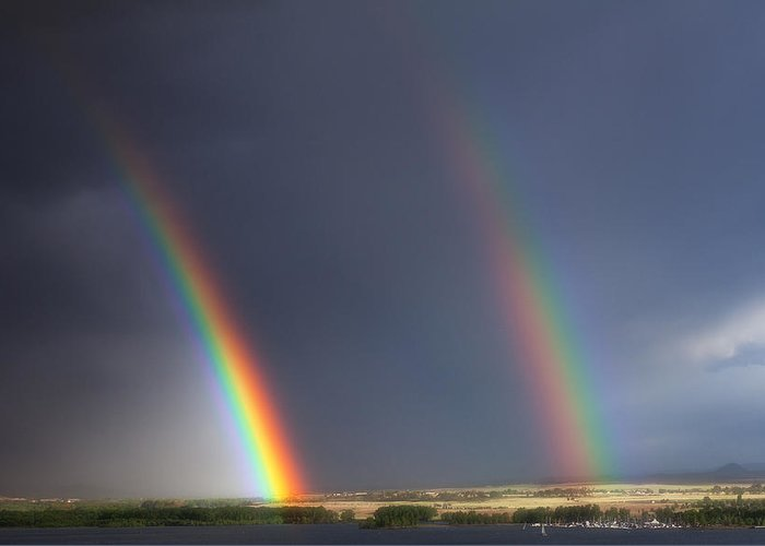 Rainbows Greeting Card featuring the photograph Natures Twin Towers by Darren White