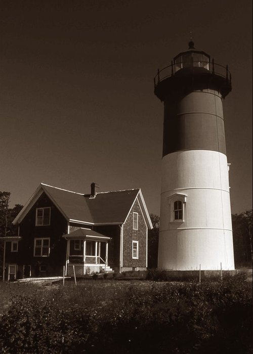 Lighthouses Greeting Card featuring the photograph Nauset Lighthouse by Skip Willits