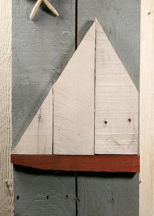 Wood Greeting Card featuring the sculpture Nautical Wood Art 01 by John Turek
