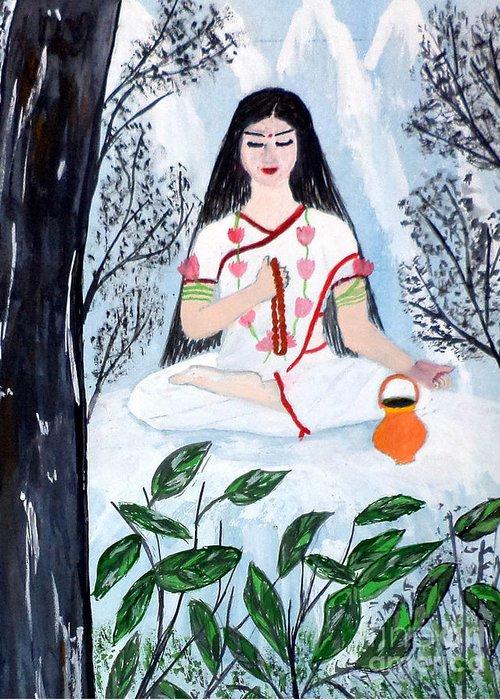 Nava Durga Greeting Card featuring the painting Nava Durga Brahmacharini by Pratyasha Nithin