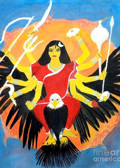 Nava Durga Greeting Card featuring the painting Nava Durga Chandraghanta by Pratyasha Nithin