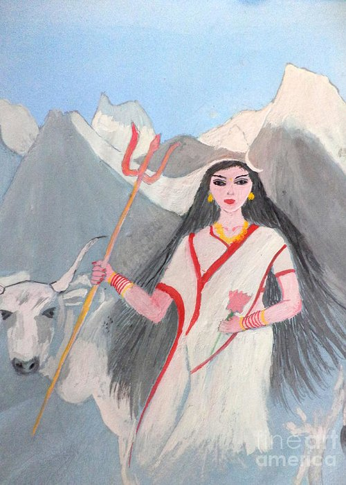 Nava Durga Greeting Card featuring the painting Nava Durga Shailputri by Pratyasha Nithin
