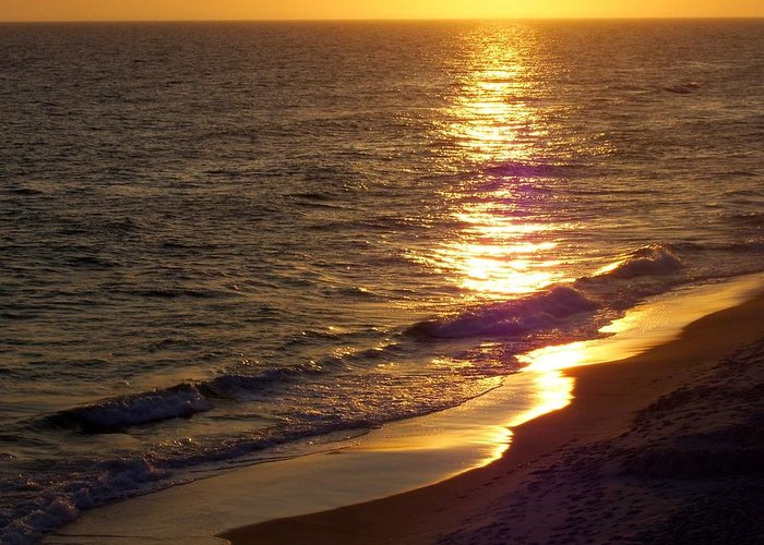 Beach Greeting Card featuring the photograph Navarre Sunset Surf by Terry Cobb