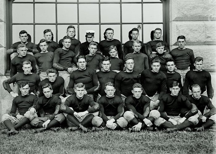 Navy Greeting Card featuring the photograph Navy Football 1913 by Benjamin Yeager