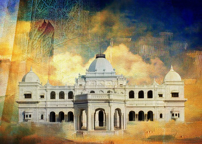 Pakistan Greeting Card featuring the painting Nawab's Palace by Catf