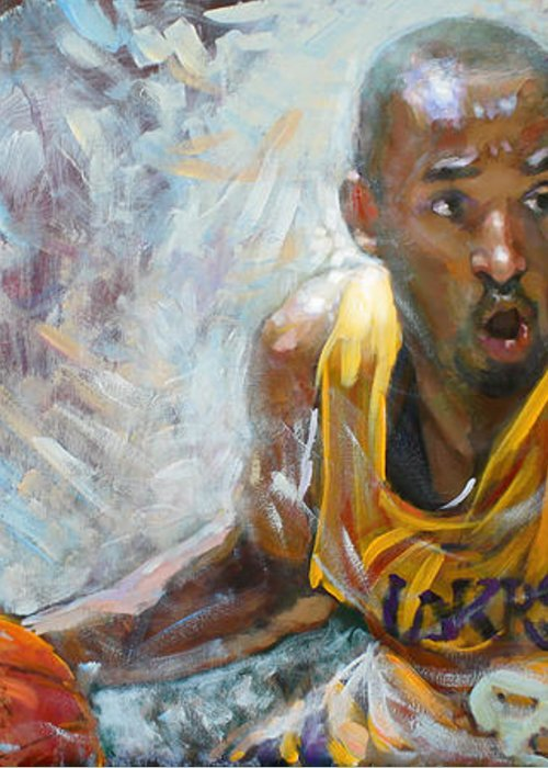 Lakers Greeting Card featuring the painting Nba Lakers Kobe Black Mamba by Ylli Haruni