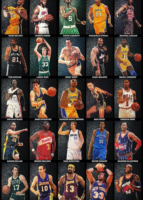 Nba Greeting Card featuring the digital art Nba Legends by Taylan Apukovska