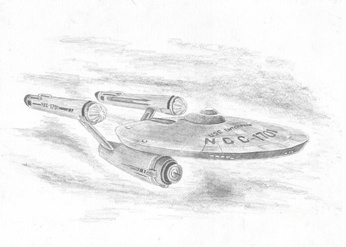 Space Greeting Card featuring the drawing Ncc-1701 Enterprise by Michael Penny