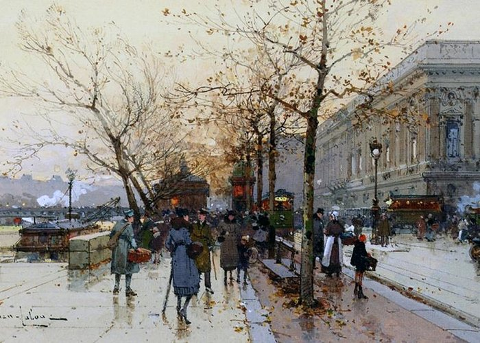 Right Bank Greeting Card featuring the painting Near The Louvre Paris by Eugene Galien-Laloue