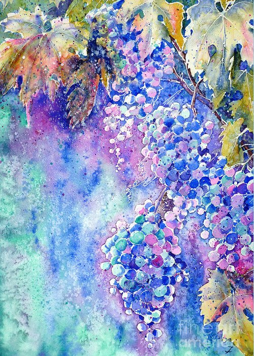 Grapes Greeting Card featuring the painting Nectar Of Nature by Zaira Dzhaubaeva