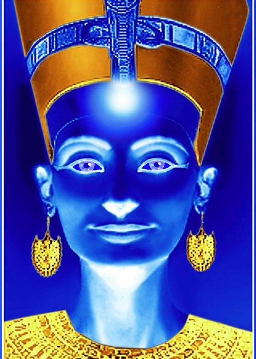 Nefertiti Greeting Card featuring the painting Nefertiti by Hartmut Jager