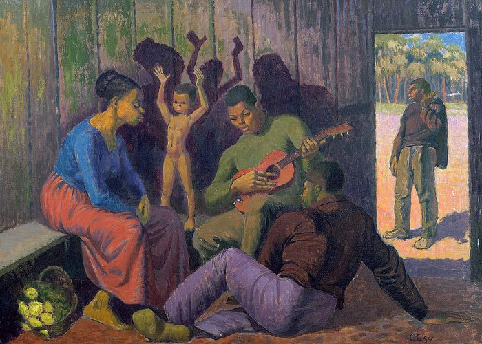 Black Greeting Card featuring the painting Negro Spritual, 1959 by Osmund Caine