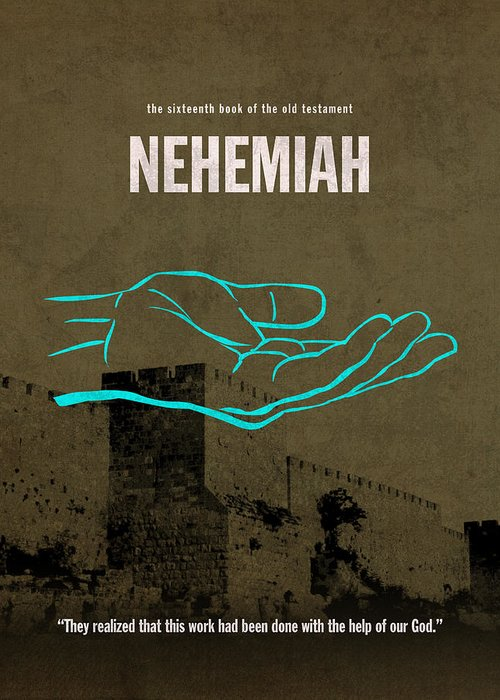 Nehemiah Greeting Card featuring the mixed media Nehemiah Books Of The Bible Series Old Testament Minimal Poster Art Number 16 by Design Turnpike