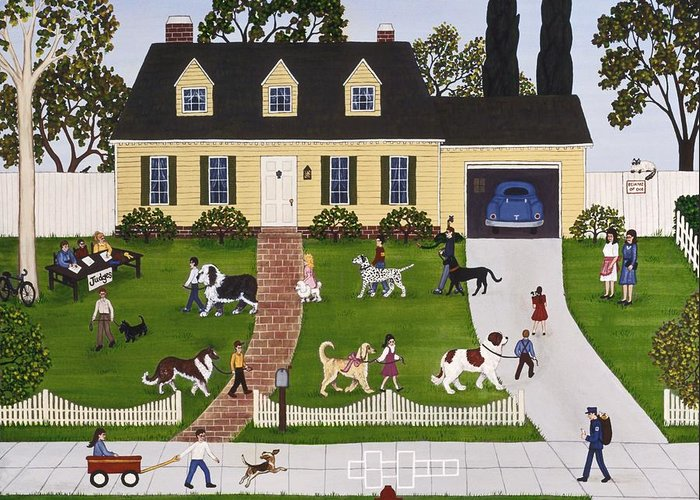 Dogs Greeting Card featuring the painting Neighborhood Dog Show by Linda Mears