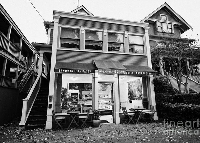 Deli Greeting Card featuring the photograph neighbourhood grocery and small deli in west end Vancouver BC Canada by Joe Fox