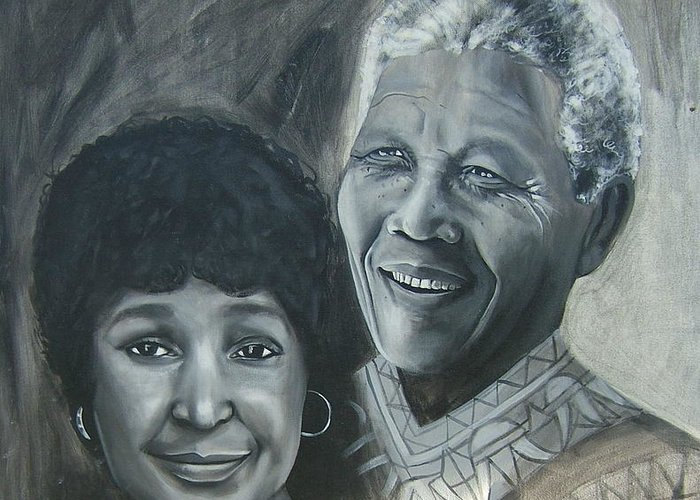 From Black & White Series Greeting Card featuring the painting Nelson And Winnie by Howard Stroman