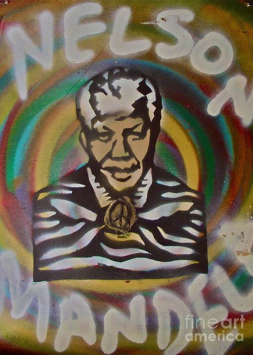 Nelson Mandela Greeting Card featuring the painting Nelson Mandela by Tony B Conscious