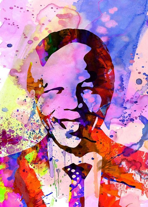 Greeting Card featuring the painting Nelson Mandela Watercolor by Naxart Studio