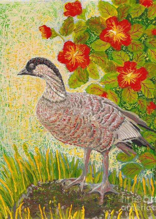 Hawaiian Birds Greeting Card featuring the painting Nene by Anna Skaradzinska