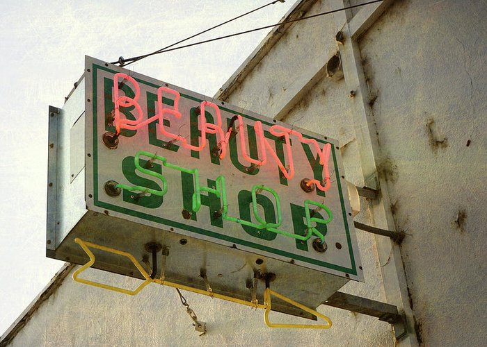 Pole Greeting Card featuring the photograph Neon Beauty Shop Sign by Smodj