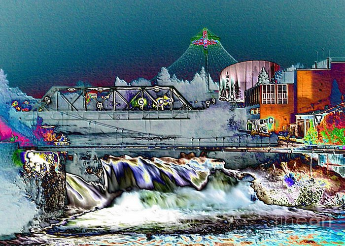 Unique Cityscape Greeting Card featuring the photograph Neon Lights Of Spokane Falls by Carol Groenen
