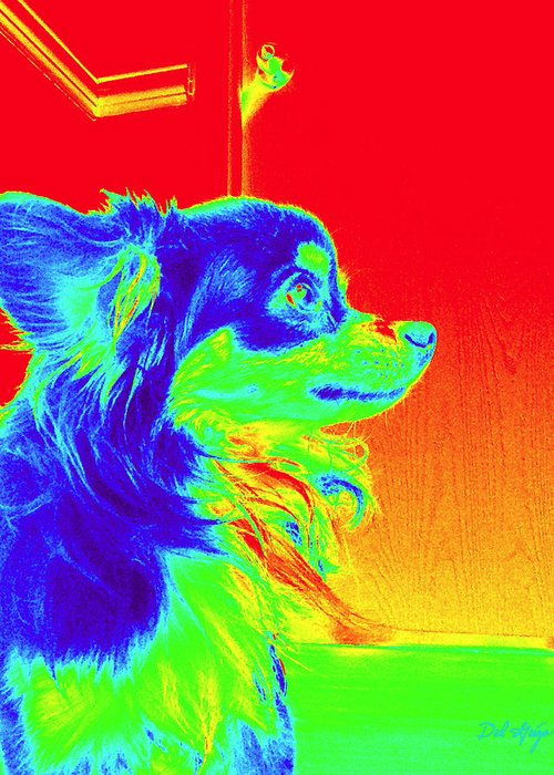 Neon Greeting Card featuring the photograph Neon Papillion by Del Gaizo
