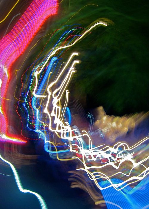 Abstract Greeting Card featuring the photograph Neon Wave I by Michele Stoehr