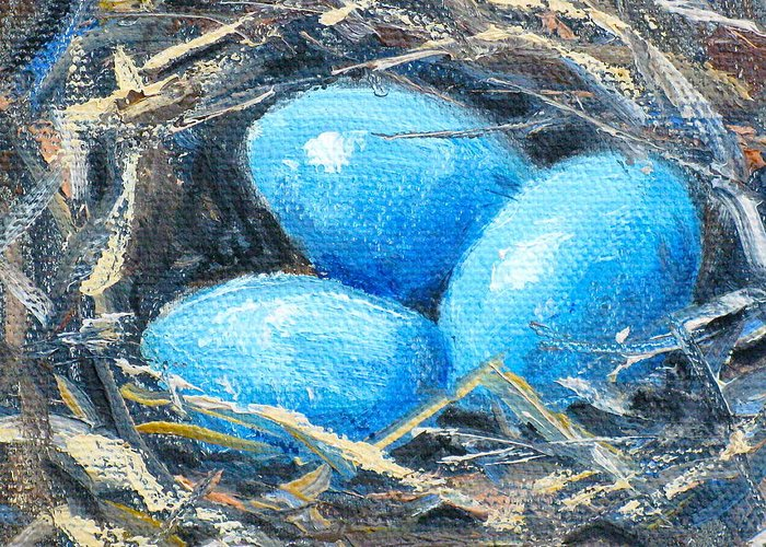 Bird�s Nest Greeting Card featuring the painting Nesting by Carolyn Watson