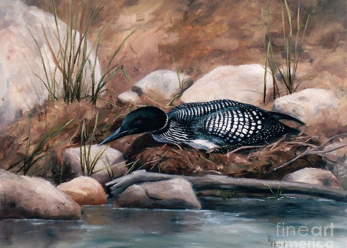 Wildlife Greeting Card featuring the painting Nesting Time by Brenda Thour