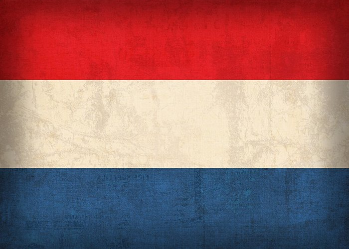 Netherlands Flag Vintage Distressed Finish Holland Europe Country Nation Dutch Greeting Card featuring the mixed media Netherlands Flag Vintage Distressed Finish by Design Turnpike
