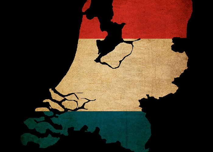 Flag Greeting Card featuring the photograph Netherlands Grunge Map Outline With Flag by Matthew Gibson
