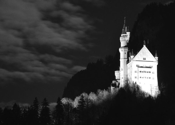 Moonlit Night Greeting Card featuring the photograph Neuschwanstein Castle by Matt MacMillan