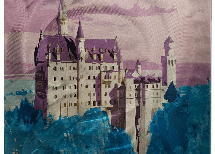 Castle Greeting Card featuring the photograph Neuschwanstein Castle by Metal Art Studio