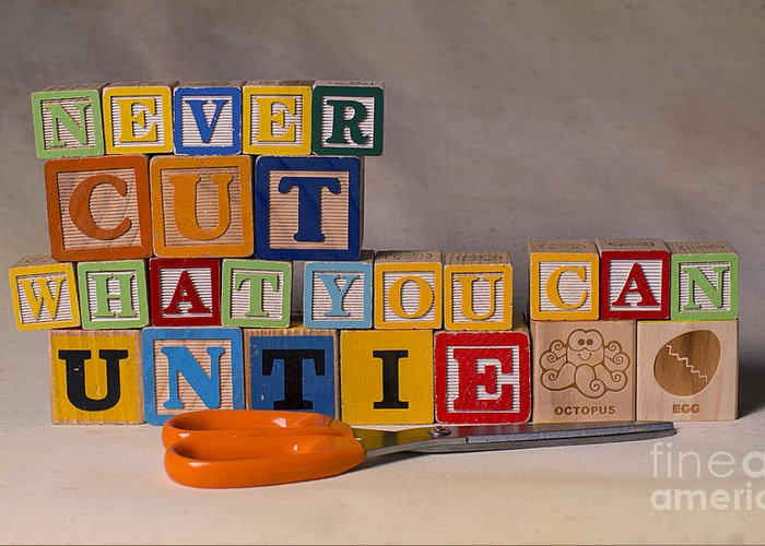 Never Cut What You Can Untie Greeting Card featuring the photograph Never Cut What You Can Untie by Art Whitton