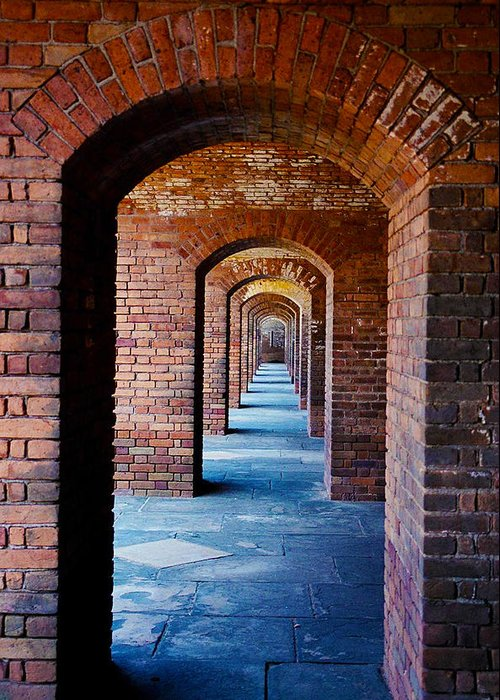 Brick Greeting Card featuring the photograph Never Ending Doors by Stephie Carr