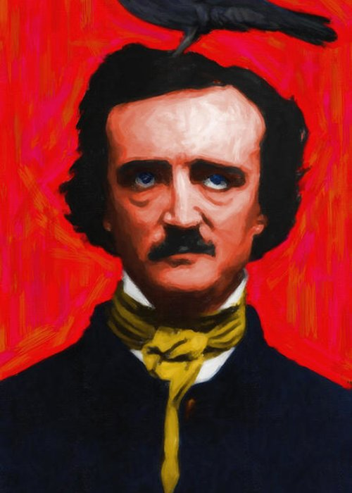 Edgar Greeting Card featuring the photograph Nevermore - Edgar Allan Poe - Painterly by Wingsdomain Art and Photography