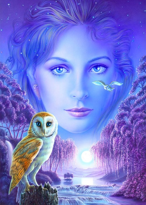 Animal Greeting Card featuring the photograph New Age Owl Girl by Andrew Farley