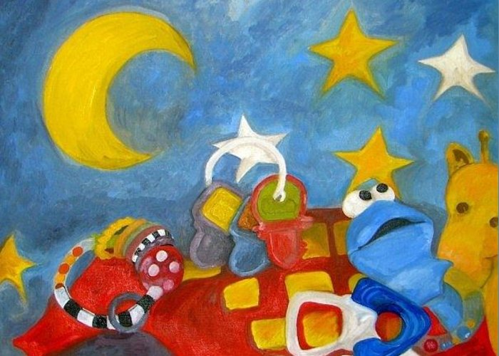 Toys Blanket Post Card Greeting Card Print Greeting Card featuring the painting New Born by Anthony Caruso